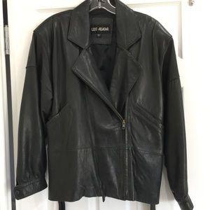 Leather jacket w/belt. LG Soft, thick quality